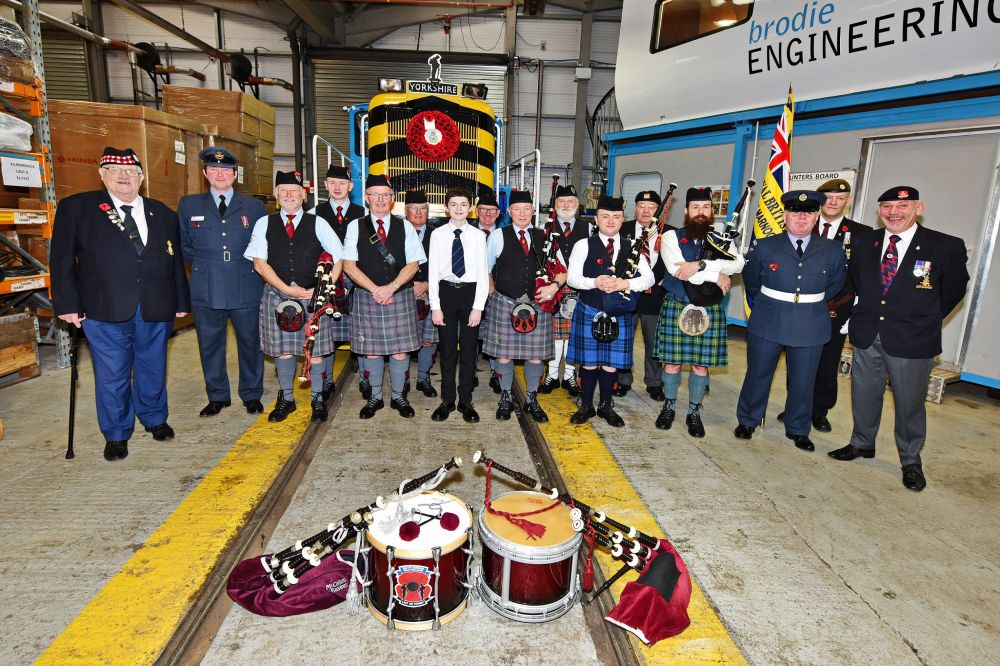 The Isle of Cumbrae Royal British Legion Pipe Band together with a presence from the Royal British Legion Kilmarnock Branch and 603 Squadron City of Edinburgh Royal Auxiliary Air Force
